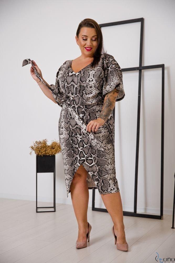 Beżowo-Czarna Sukienka FENICE Plus Size