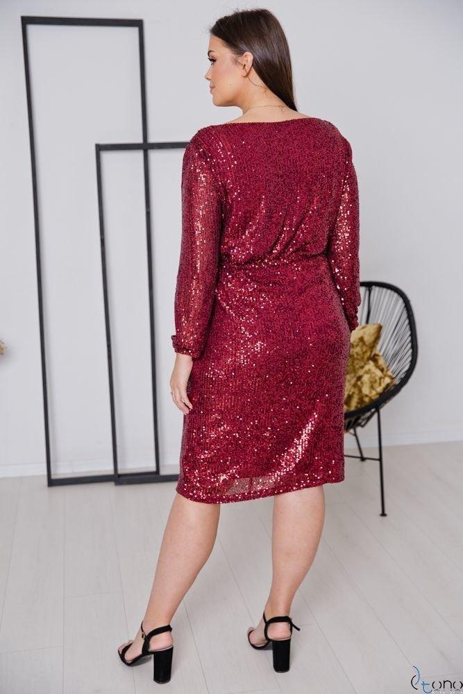 Bordowa Sukienka FUERA Plus Size
