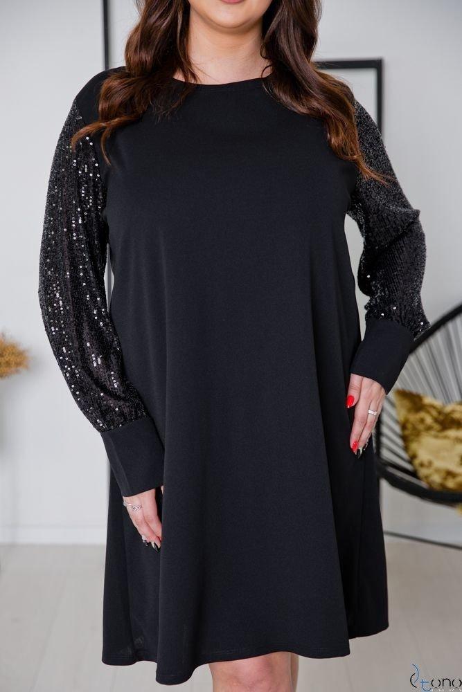 Czarno-Srebrna Sukienka CELESTA Plus Size