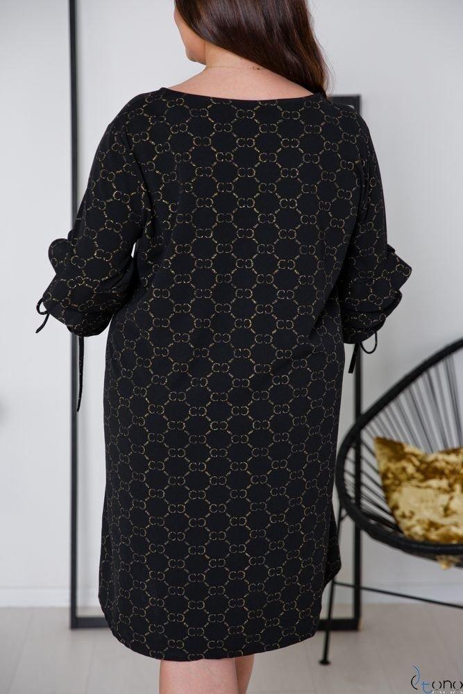Czarno-Złoty Sukienka CROEN Plus Size
