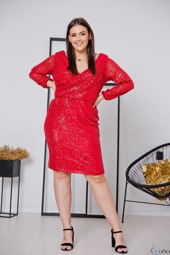 Czerwona Sukienka FUERA Plus Size