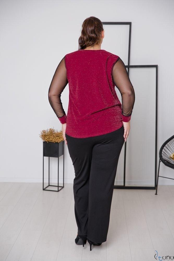 Bordowa Bluzka LETERIA Plus Size