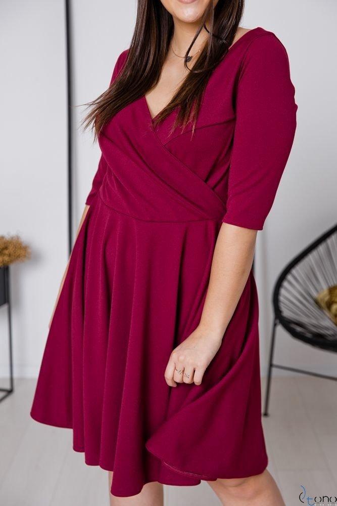 Bordowa Sukienka OLINDA Plus Size