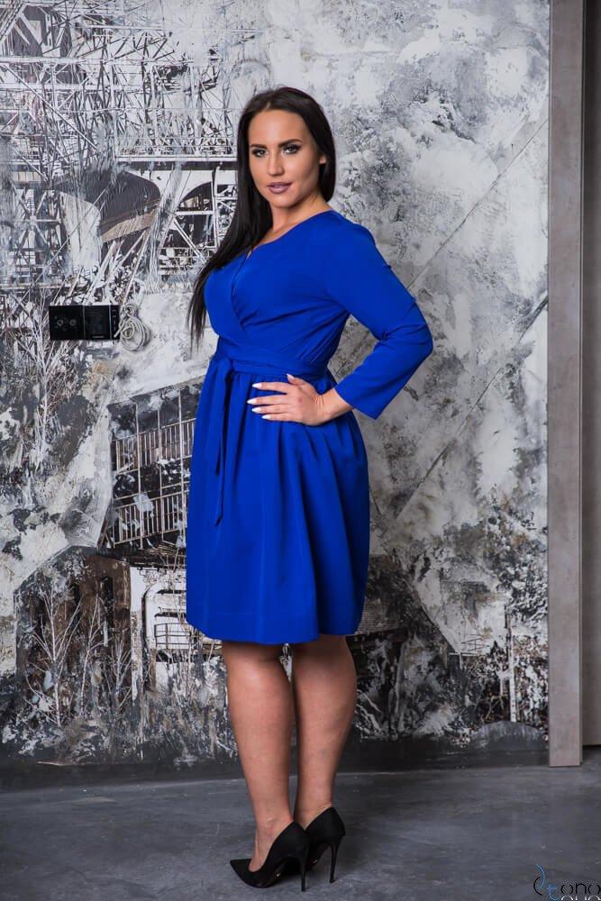 Chabrowa Sukienka MAKAN Kopertowa Plus Size