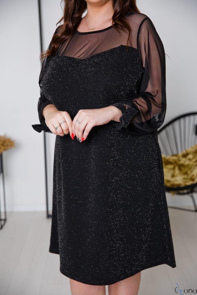 Czarna Sukienka LASHES Plus Size