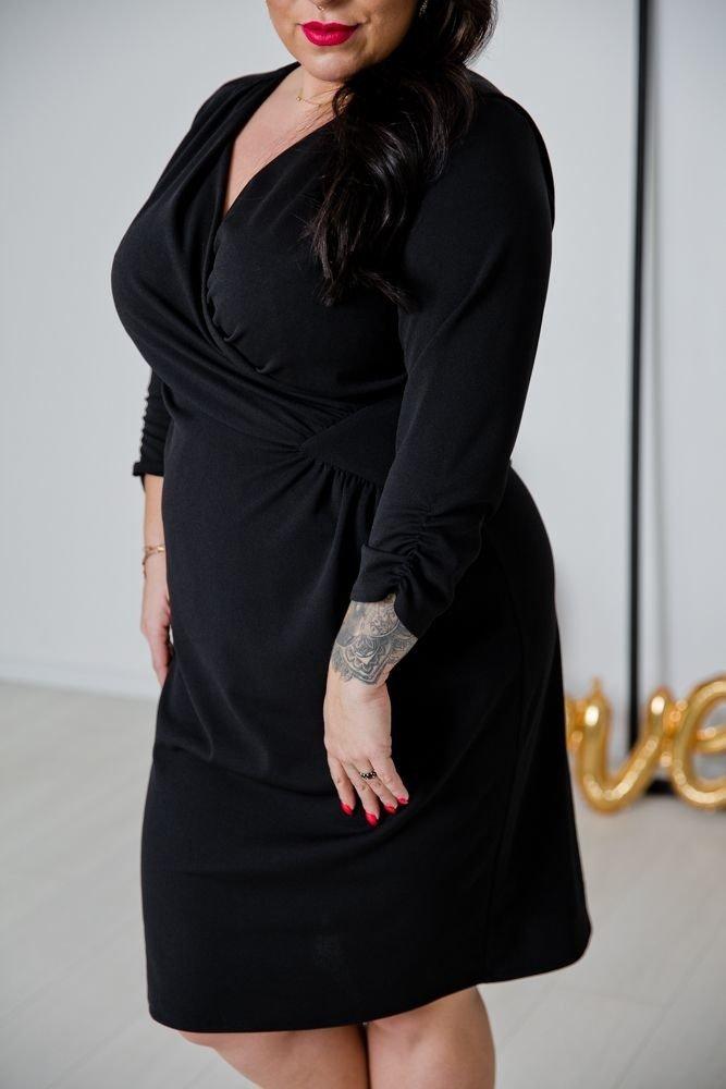 Czarna Sukienka VISPER Kopertowa Plus Size