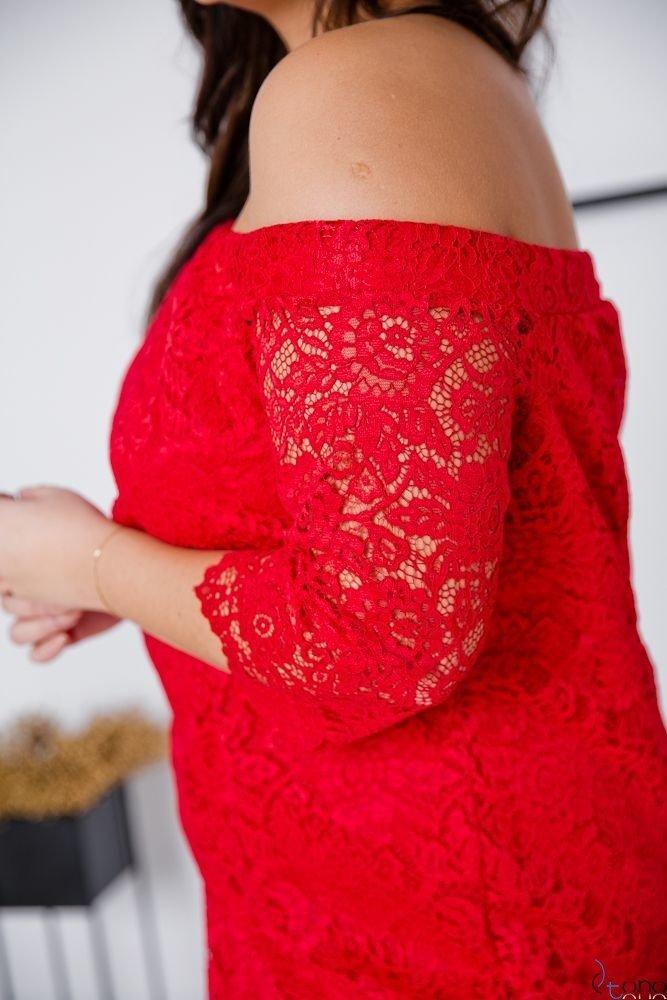 Czerwona Sukienka ADELINA Plus Size