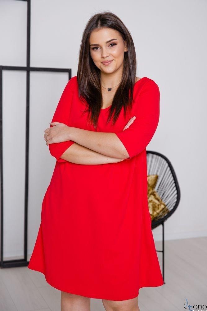 Czerwona Sukienka AFETIA Plus Size
