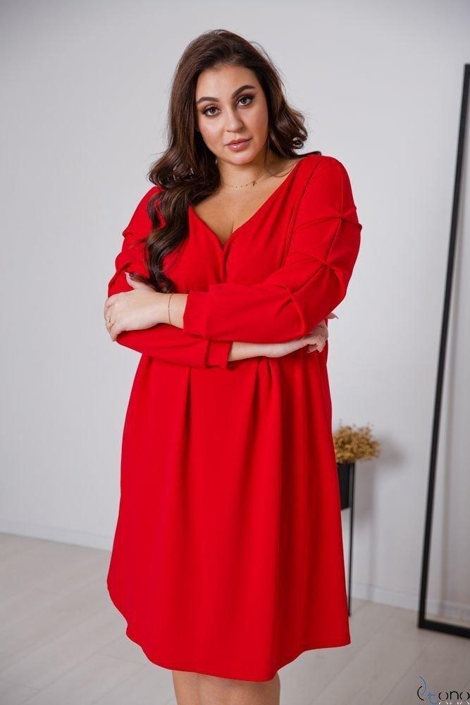 Czerwona Sukienka MERIZIA Plus Size