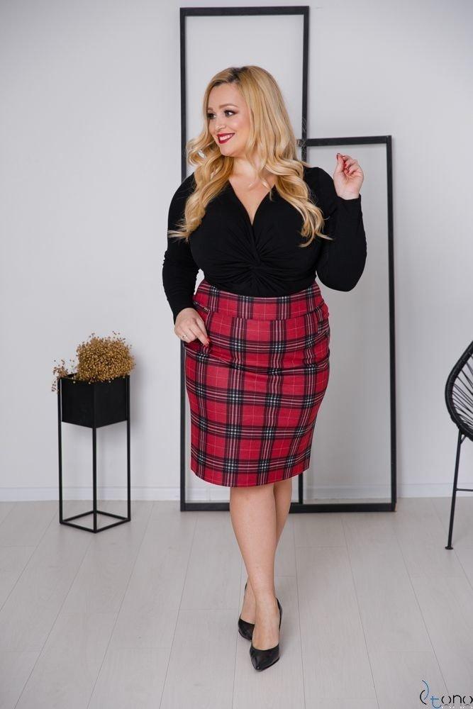 Czerwono-Czarna Spódnica LORENA Plus Size
