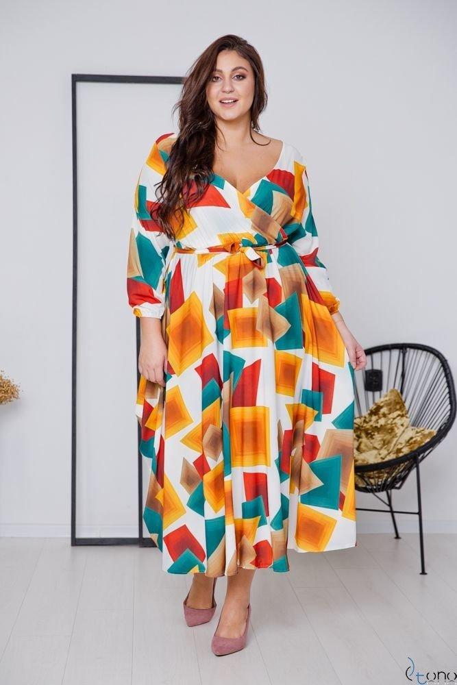 Multikolorowa Sukienka ALIZE Plus Size